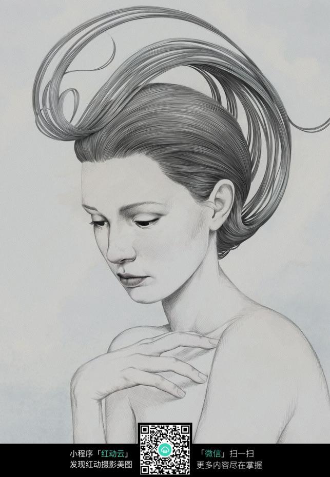 发丝秀美的女人铅笔画图片免费下载 编号6640201 红动网