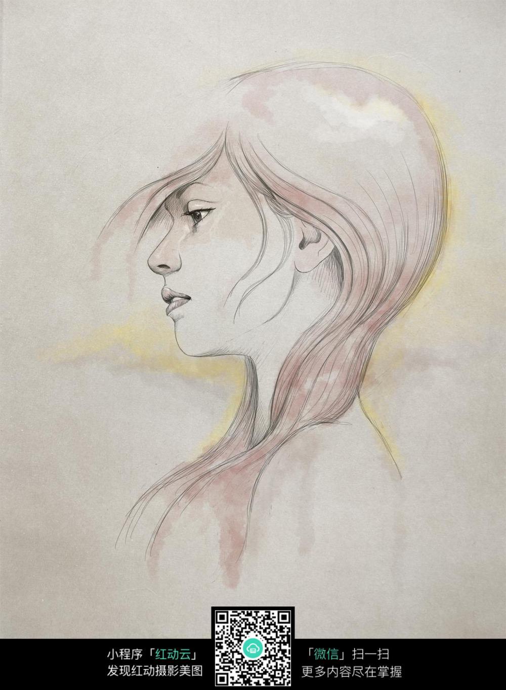 红色头发女性素描画