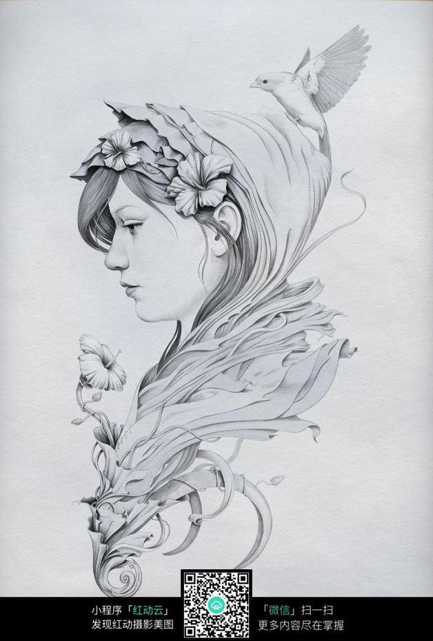 花卉与女人素描画