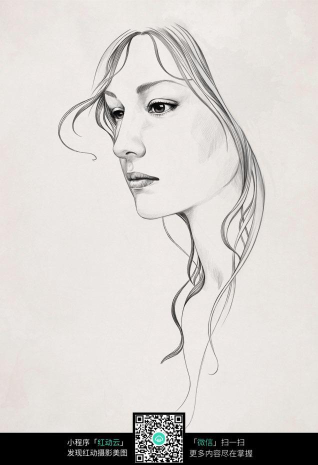 脸部素描女人素描画图片