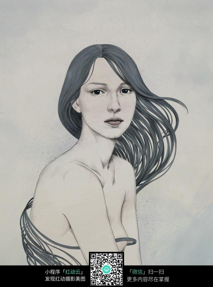 绿色发丝的女人铅笔画
