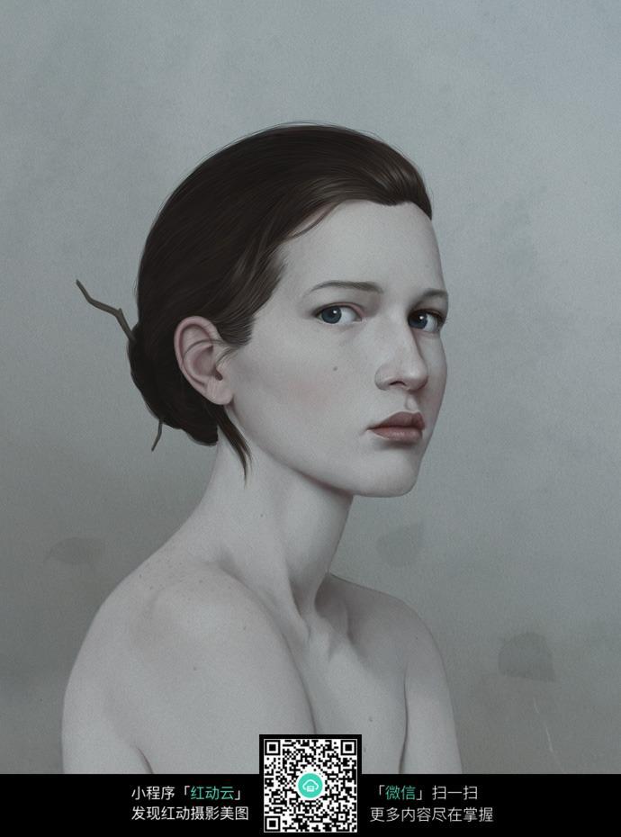 盘着头发的女人铅笔画图片免费下载 编号6640197 红动网