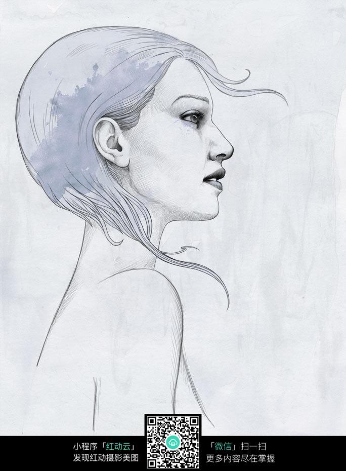水彩女性素描画