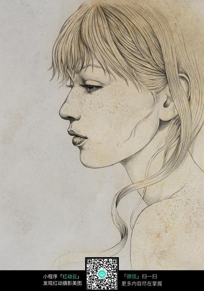 碎发的女人铅笔画