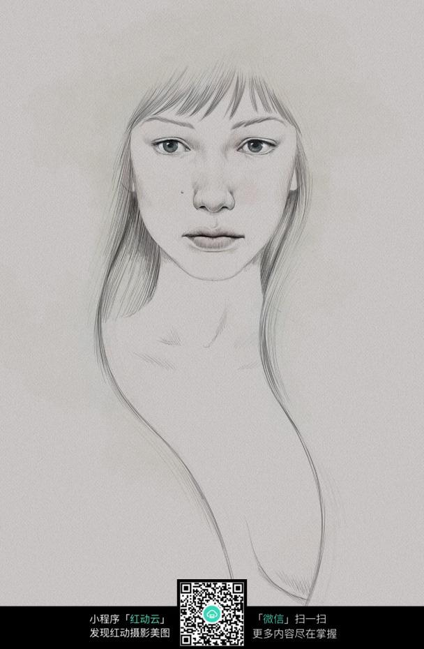 碎刘海的女人铅笔画