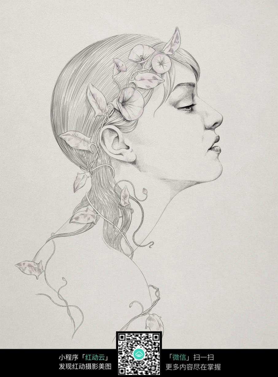 头戴花环的女人插画