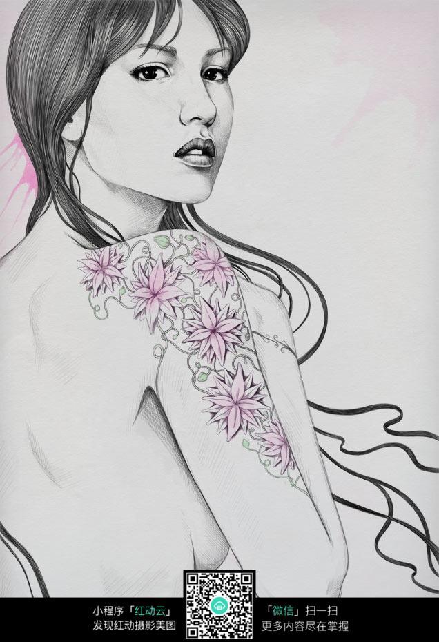 纹身的女人素描画