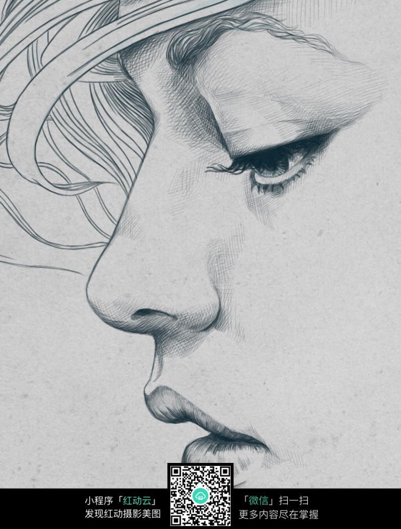 向下看的女性素描画