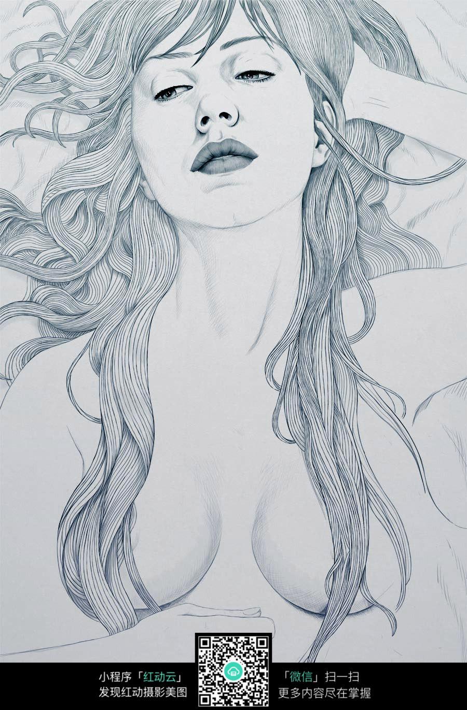 性感的女人铅笔画