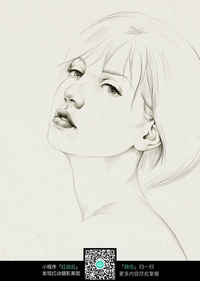 仰着头的女人铅笔画