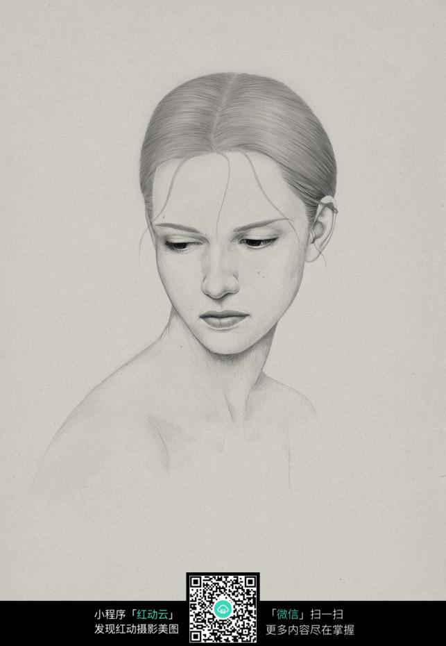 中分的女人铅笔画