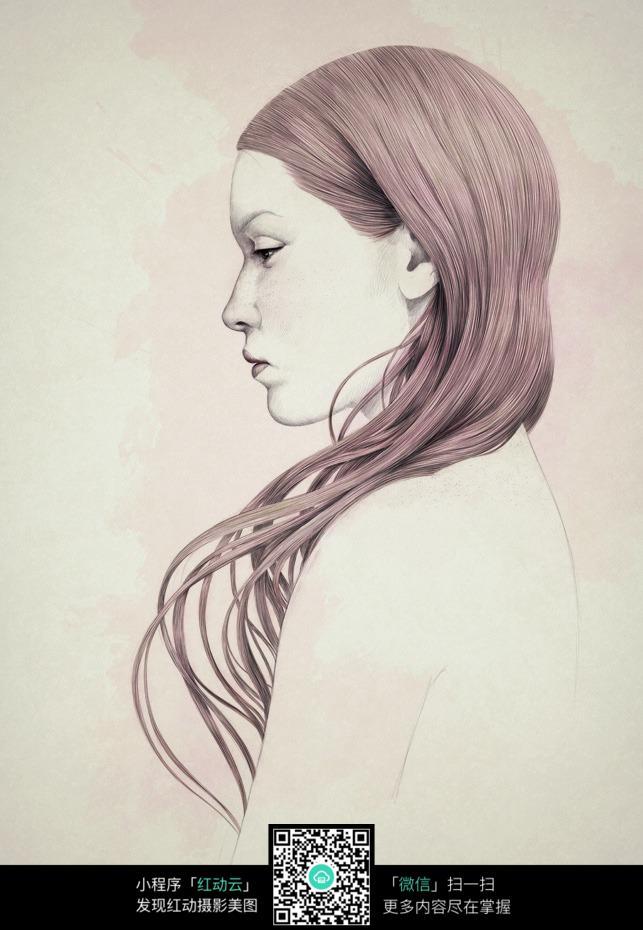 紫色头发的女人铅笔画