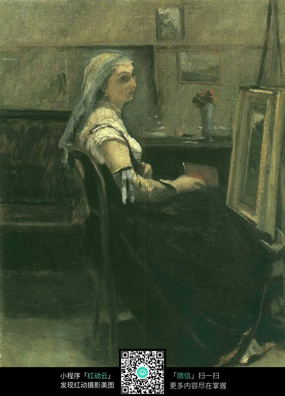 坐在椅子上的人油画