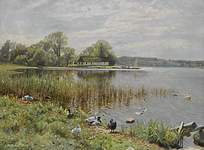 岸边的鸭子油画