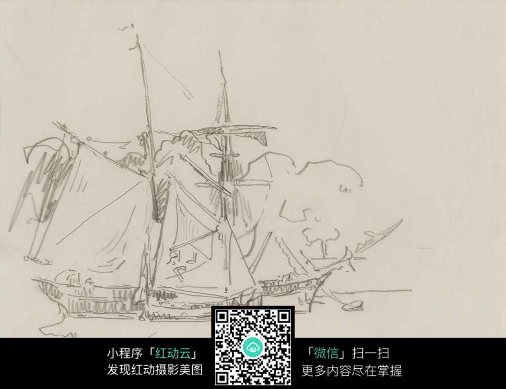 帆船铅笔手绘稿