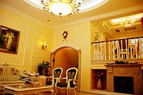 带壁炉的欧式客厅室内装修JPG效果图