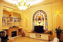 带壁炉的欧式客厅室内装修全景JPG效果图