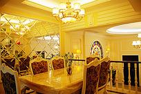 奢华水晶吊灯欧风餐厅全景JPG效果图