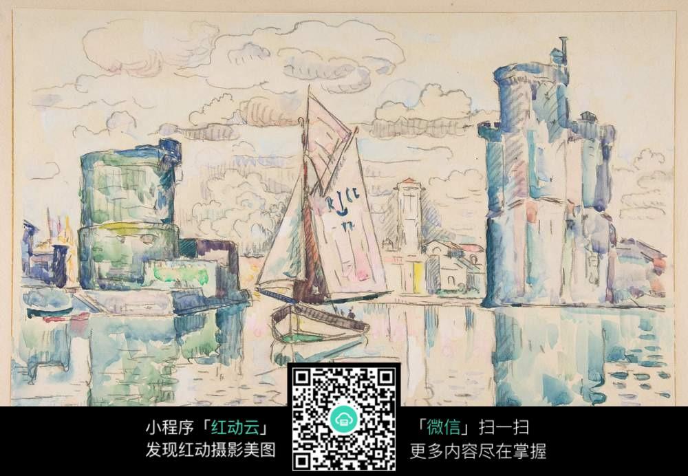 帆船水彩画