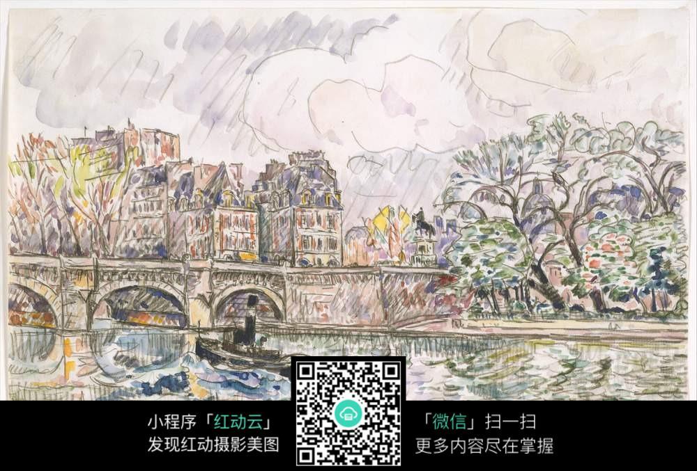 拱桥水彩风景画图片免费下载 编号6650443 红动网