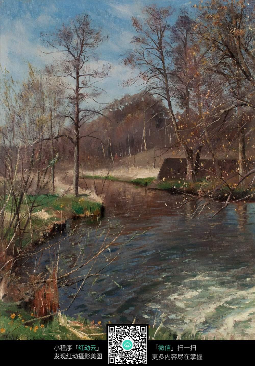 林中山溪写实风景油画
