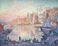油画效果西欧风格渔民生活图片素材