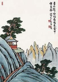 中国风山水画提诗挂画素材