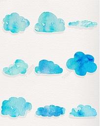 水彩蓝色云朵装饰图案