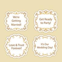 金色花边婚礼标签矢量素材