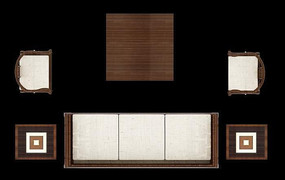 实木沙发摆放效果图PSD格式素材