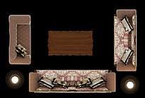 客厅布艺沙发摆放效果图PSD格式素材