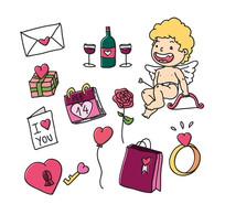 12款彩绘天使和情人节元素