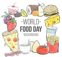 彩绘世界粮食日食物插画