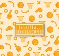 橙色篮球元素无缝背景