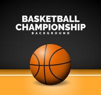 精美地板上的篮球设计