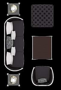 简约时尚沙发靠椅俯视图设计