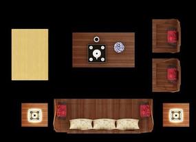 木质沙发摆放效果图
