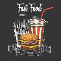 彩绘快餐食品菜单封面
