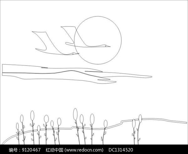 大雁雕刻图案图片