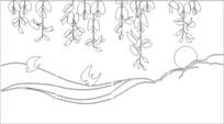 吊兰雕刻图案