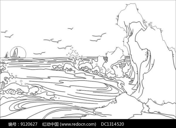 海浪雕刻图案图片