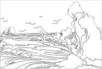海浪雕刻图案