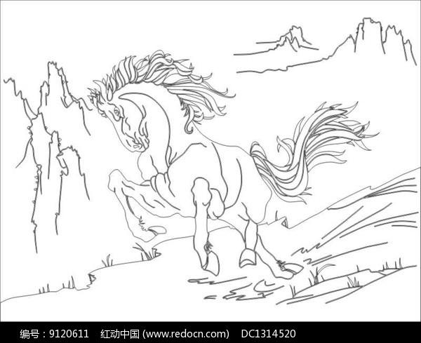 骏马雕刻图案图片