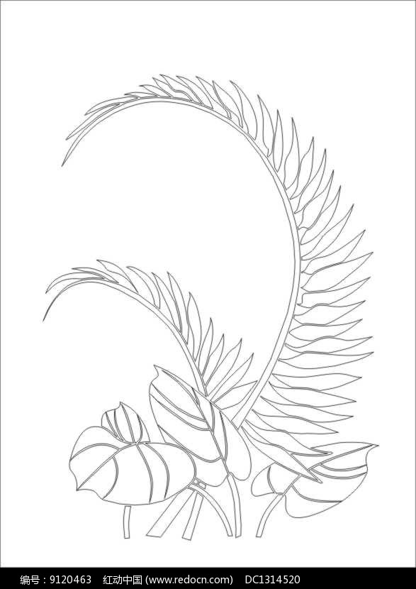 马蹄叶雕刻图案图片