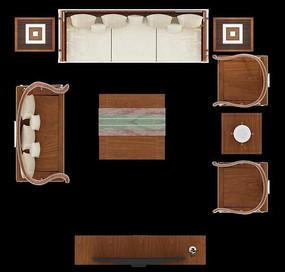 木质沙发摆放效果图PSD