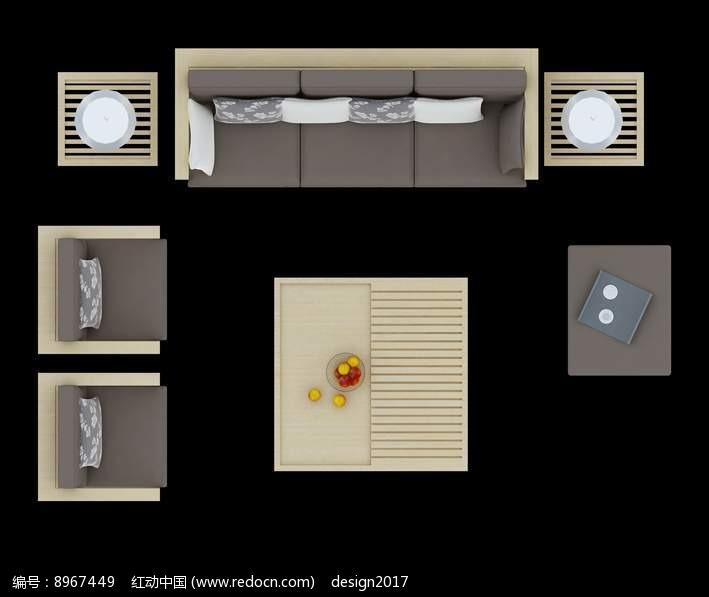 木质沙发俯视效果图PSD图片