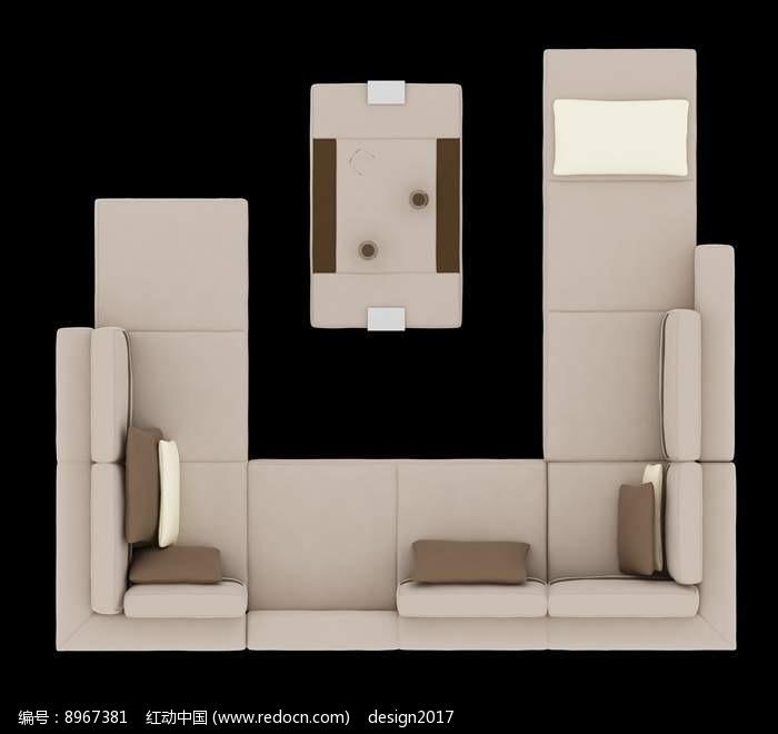 欧式沙发摆放效果图PSD图片
