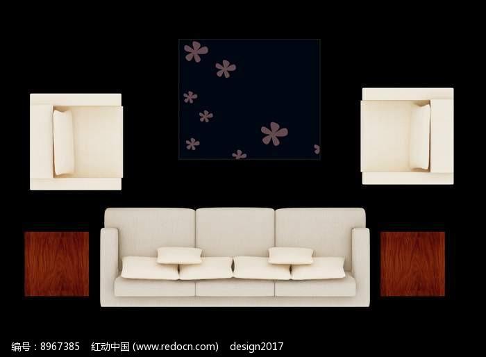沙发摆放效果图PSD图片