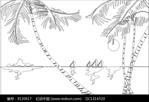 椰子风光雕刻图案图片