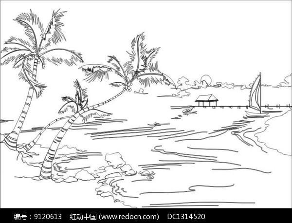 椰子树雕刻图案图片